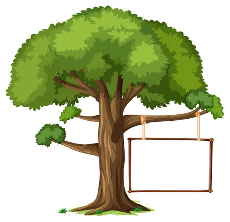 Empty banner hanging on a tree on white background illustration