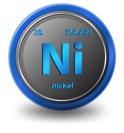 Nickel chemical element. Chemical symbol with atomic number and atomic mass. illustration