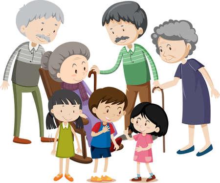 Member of family cartoon character on white background illustration Векторная Иллюстрация
