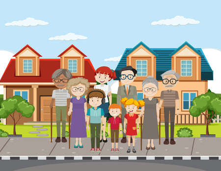 Outdoor scene with member of family illustration