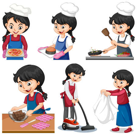 Set of a cute girl doing different activities illustration