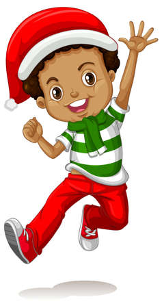 Cute boy wearing Christmas costumes cartoon character illustration Vecteurs