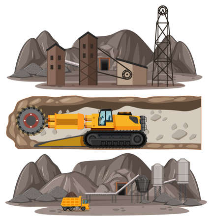 Coal mining scene with different types of construction trucks illustration