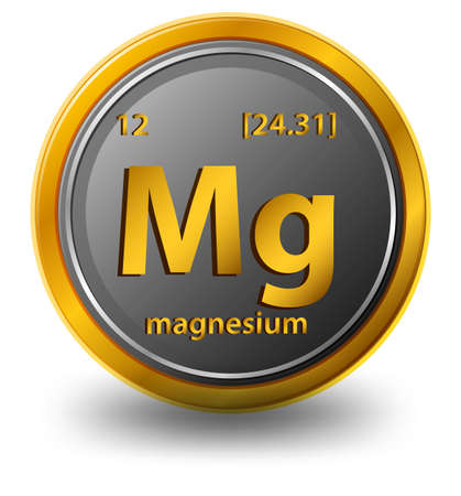Magnesium chemical element. Chemical symbol with atomic number and atomic mass. illustration