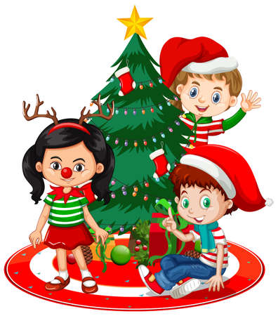 Children wear Christmas costume cartoon character with Christmas tree on white background illustration Vecteurs