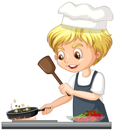 Cartoon character of a chef boy cooking food illustration