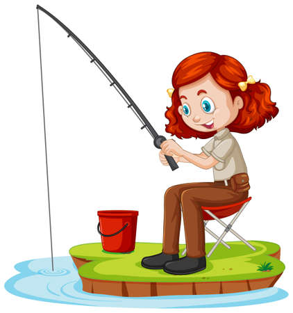 A girl cartoon character sitting and fishing on white background illustration Vektorové ilustrace