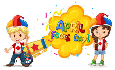 April Fool's Day font icon with children wearing jester hat illustration Vettoriali