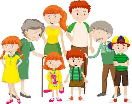 Member of family cartoon character on white background illustration