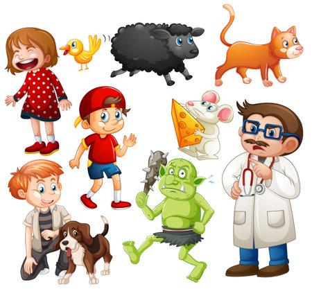 Set of fantasy cartoon character and animal isolated on white background illustration Vektorové ilustrace