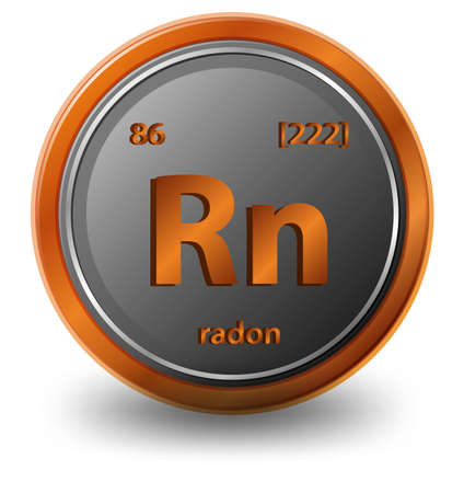 Radon chemical element. Chemical symbol with atomic number and atomic mass. illustration Vector Illustration