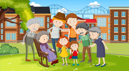 Member of family at the park outdoor scene illustration