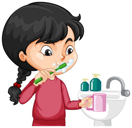 A girl cartoon character brushing teeth with water sink illustration