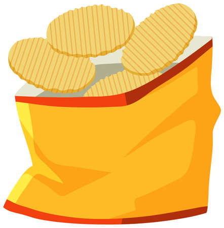 Package of potato chips opened illustration