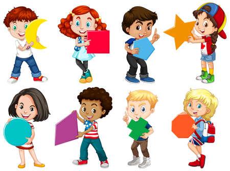 Set of different children holding different shapes illustration Vector Illustratie
