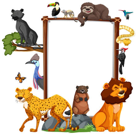 Empty banner with wild animals on white background illustration