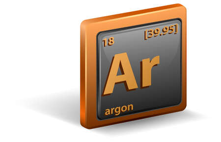 Argon chemical element. Chemical symbol with atomic number and atomic mass. illustration Stock Illustratie