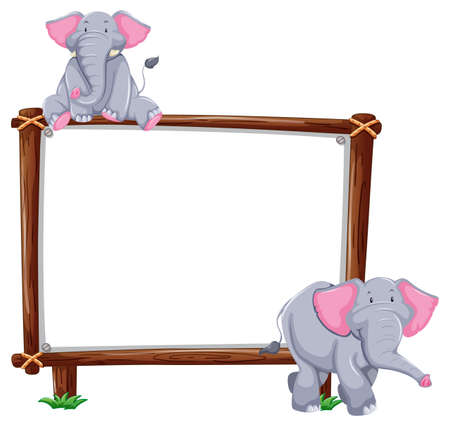 Empty banner with two elephants on white background illustration