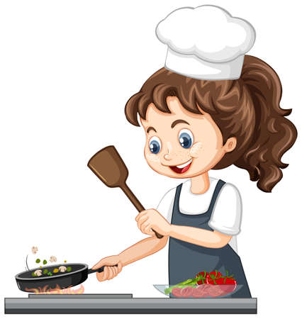 Cute girl character wearing chef hat cooking food illustration