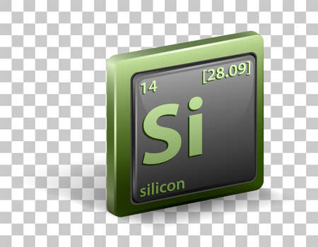 Silicon chemical element. Chemical symbol with atomic number and atomic mass. illustration