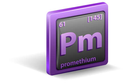 Promethium chemical element. Chemical symbol with atomic number and atomic mass. illustration