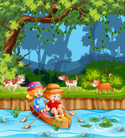 Children row the boat in the stream forest scene illustration