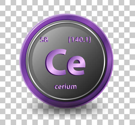 Cerium chemical element. Chemical symbol with atomic number and atomic mass. illustration Stock Illustratie