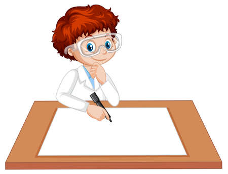 A boy wearing scientist gown with empty paper on the table illustration