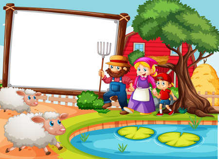 Blank banner in farm scene with happy family and many sheeps illustration Stock Illustratie