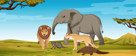 Group of wild african animal in the forest scene illustration