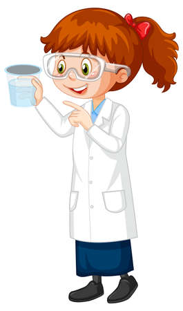 Cute girl cartoon character wearing science lab coat illustration