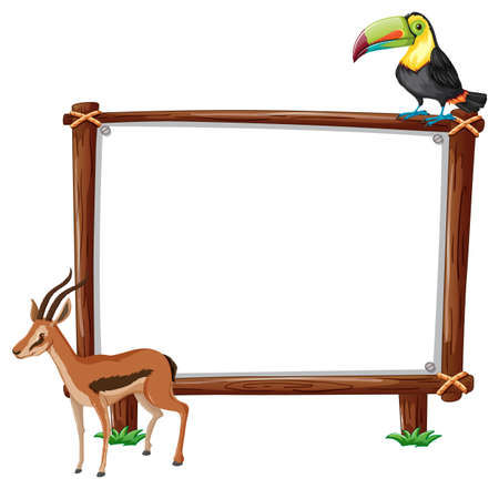 Empty banner with toucan and serow on white background illustration