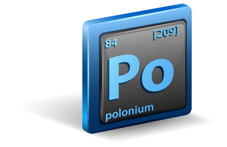 Polonium	 chemical element. Chemical symbol with atomic number and atomic mass. illustration