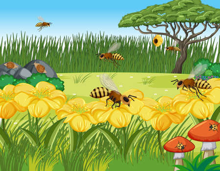 Close up flowers and leaves scene with many bees illustration