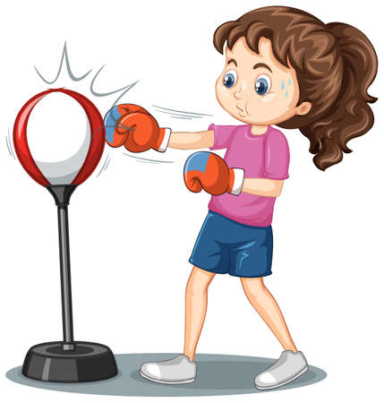 A girl cartoon character doing boxing exercise illustration