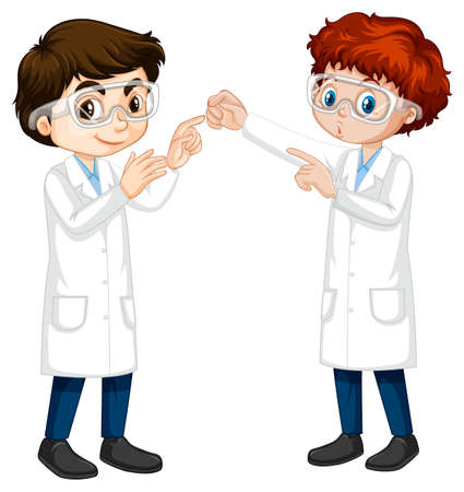 Two young scientist talking each other illustration Stock Illustratie