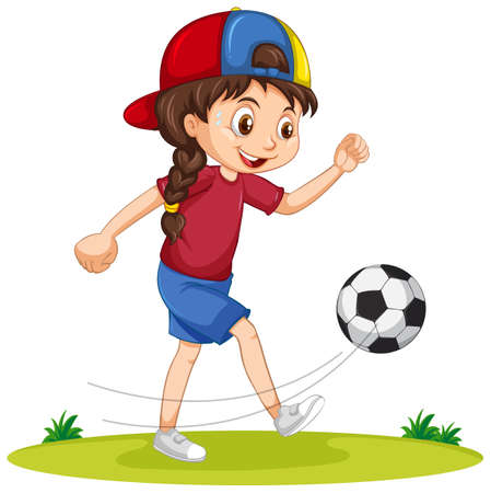 Cute girl playing football cartoon character isolated illustration