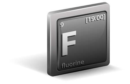 Fluorine chemical element. Chemical symbol with atomic number and atomic mass. illustration Stock Illustratie