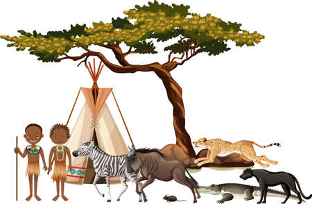 African tribe with group of wild african animal on white background illustration Stock Illustratie