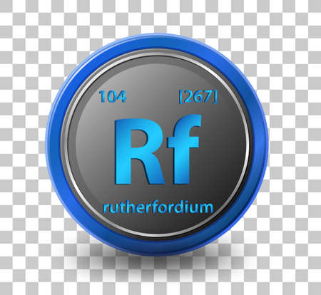 Rutherfordium chemical element. Chemical symbol with atomic number and atomic mass. illustration