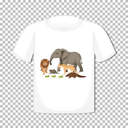Wild animal group design on t-shirt isolated on transparent background illustration Stock Illustratie