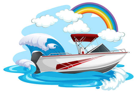 A speed boat in the sea on white background illustration