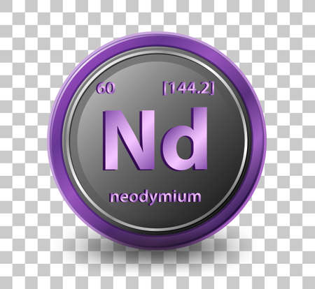 Neodymium chemical element. Chemical symbol with atomic number and atomic mass. illustration