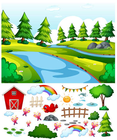 Nature park scene with isolated cartoon character and objects illustration