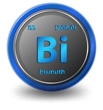 Bismuth chemical element. Chemical symbol with atomic number and atomic mass. illustration