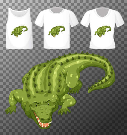 Set of different shirts with crocodile cartoon character isolated on transparent background illustration