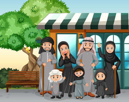 Outdoor scene with member of arab family illustration