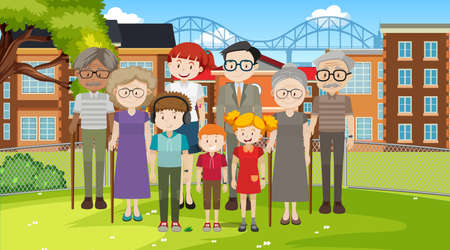Park outdoor scene with member of family illustration