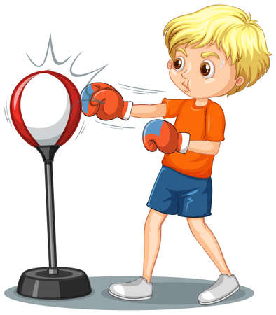 Cartoon character of a boy punching reflex bag illustration Stock Illustratie