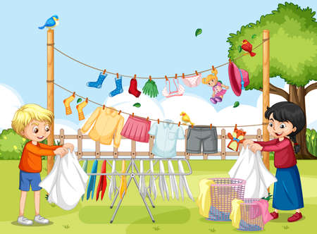 Outdoor scene with children hanging clothes on clotheslines illustration